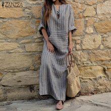 2018 Autumn ZANZEA Women Striped Dress Sexy V Neck Long Sleeve Maxi Long Dresses Vintage Casual Loose Plus Size Vestidos