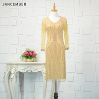 JANCEBER Heavy Beading Cocktail Dresses V Neck Long Tulle Sleeve Zipper Back Hand Made Pearl Crystal Luxury sukienka koktailowa