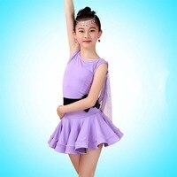 2017 Girl Latin Dance Dress Include Long/Short Sleeves Children Fantasia Skirt Student Dance Skirts Female Dresses Costumes 2040