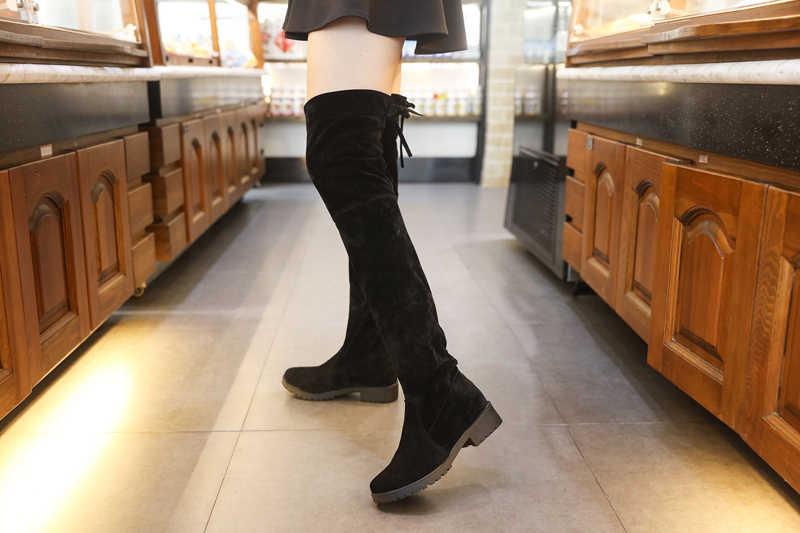 Düşük Topuklu Sıcak Tutmak Kadın Çizmeler Diz Üzerinde Çizmeler Kadın Streç Kumaş Diz Yüksek Çizmeler Kadın Sonbahar Kadın Ayakkabı botas Mujer