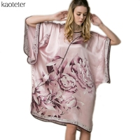 100 Real Silk Women S Nightgowns New Women Loose Sleepshirts Hand Painted Female Casual Sleeps Woman
