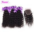 Новое поступление Бразильский kinky вьющиеся девы волос 7а страсть Бразильский плетение волос пучки Бразильский девственные волосы с закрытием 4 шт.