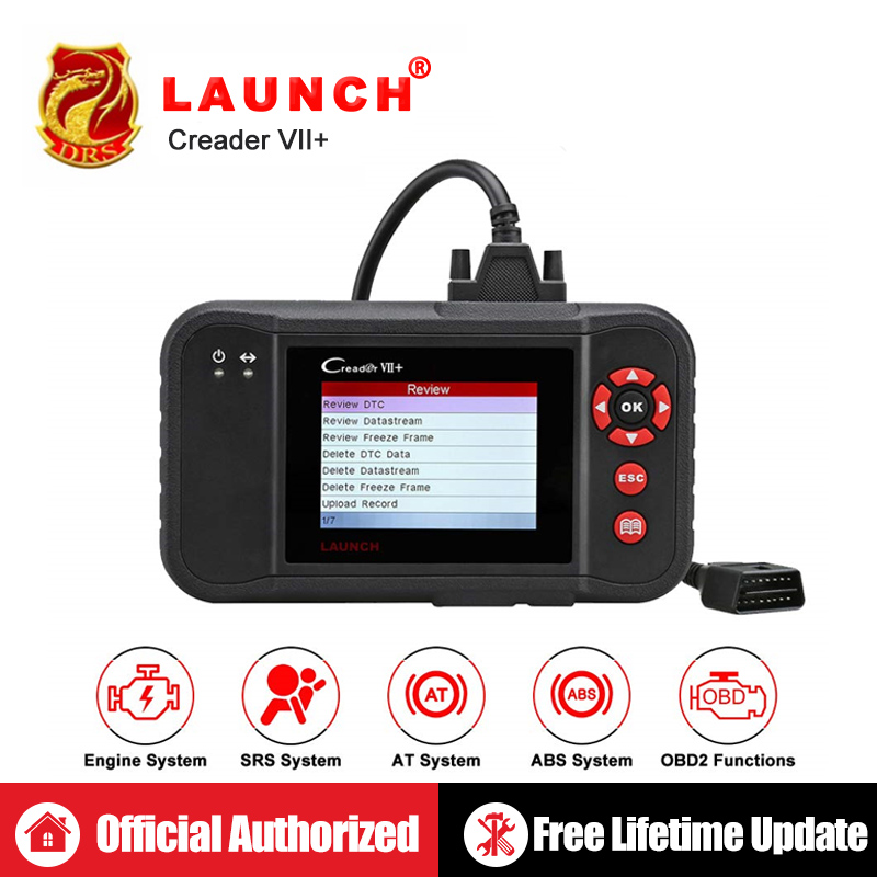 Lançamento Creader VII + Código Auto Leitor Lançamento CRP123 X431 Lançamento Creader VII Acrescido OBD2 Scanner OBDII Ferramenta de Diagnóstico Do Carro ABS SRS