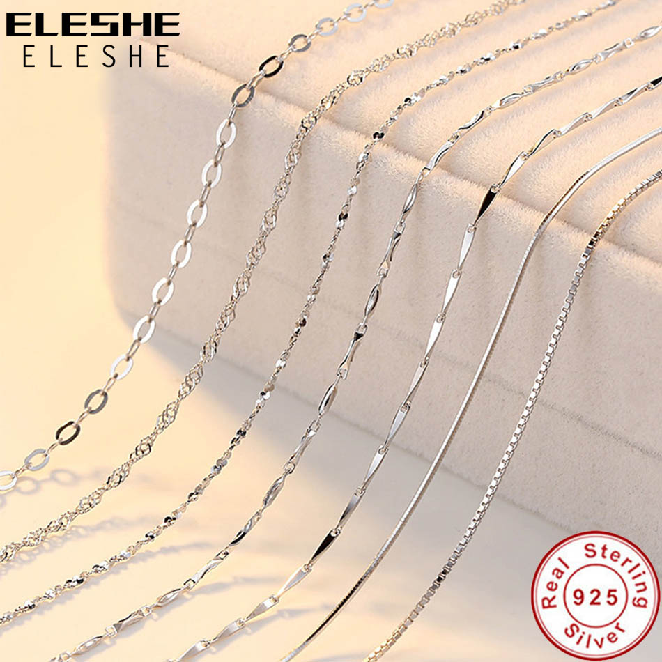 ELESHE Real Pure 925 Sterling Silver Chain Necklace
