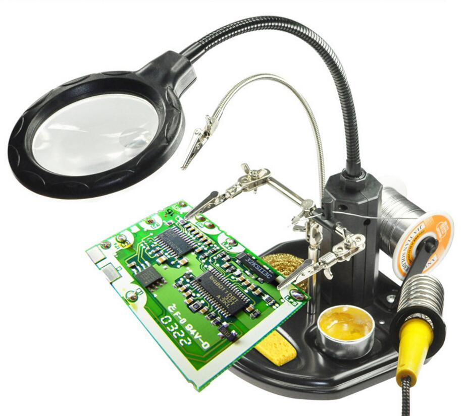 3X Metal Desktop Table Lamp Light Reading Magnifying Glass 16pcs LED Lamps Illuminated PCB welding Cellphone