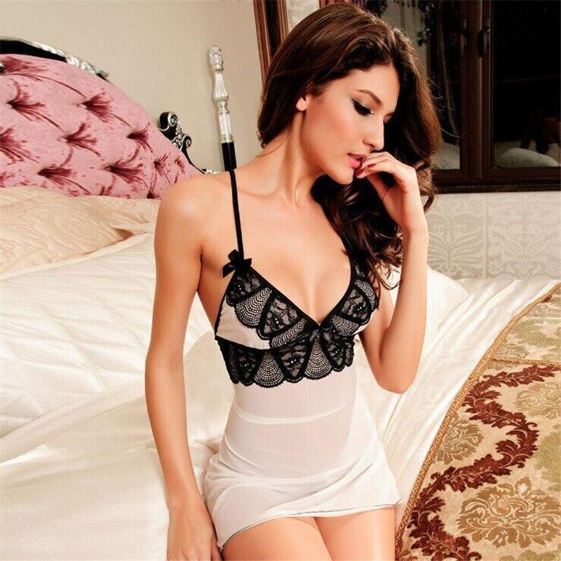 Lingerie cross bundled backless pajamas at home Perspective temptation lingerie