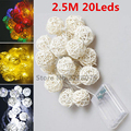 2.5M 20 LED Battery Operated Rattan Ball LED String Lights for Xmas Garland Party Wedding Decoration Xmas Flash Fairy Lights