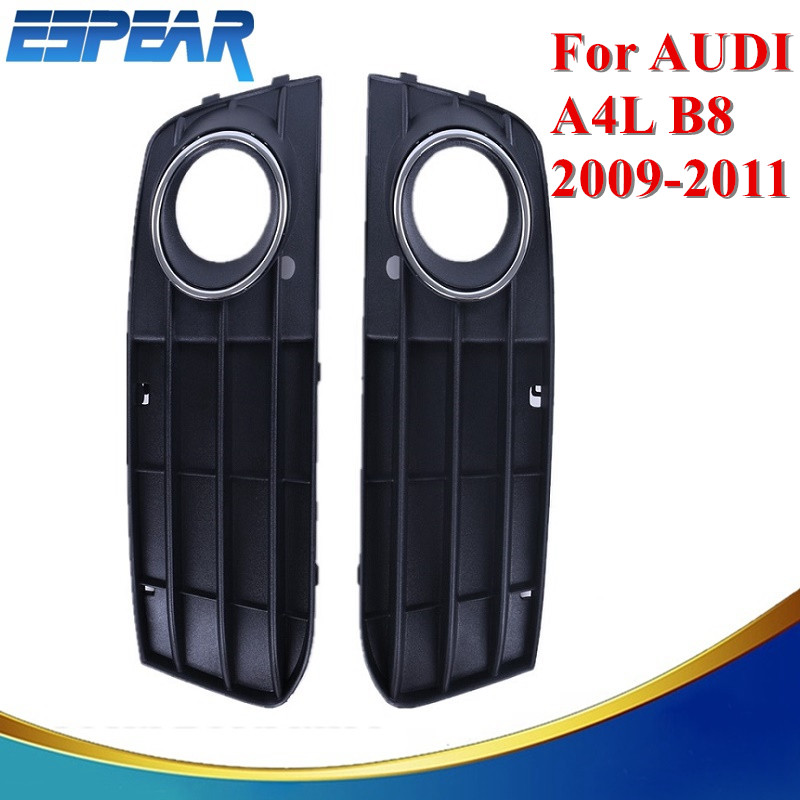 2x Brand New Car Front Bumper Fog Lights Hood Grill Grille Cover For Audi A4 B8 A4L 2009 2010 ...
