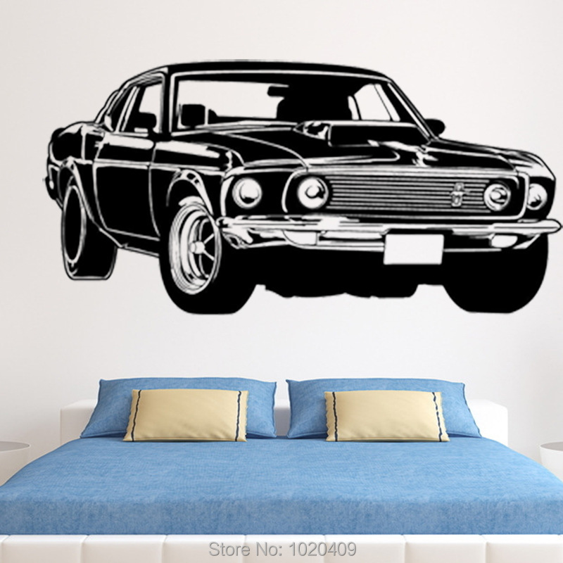 Shelby Gt Ford Mustang Muscle Car Wall Sticker Diy Home Furnishing Decor Pvc Wallpaper Children Room 3007 In Stickers From Garden On