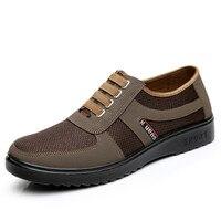 אביב סתיו אופנה חדשה גודל 39-44 מקרית של גברים נושמים אוויר נוגד החלקת נעליים שטוחות זכר נעלי גברים בד עם נעלי אור