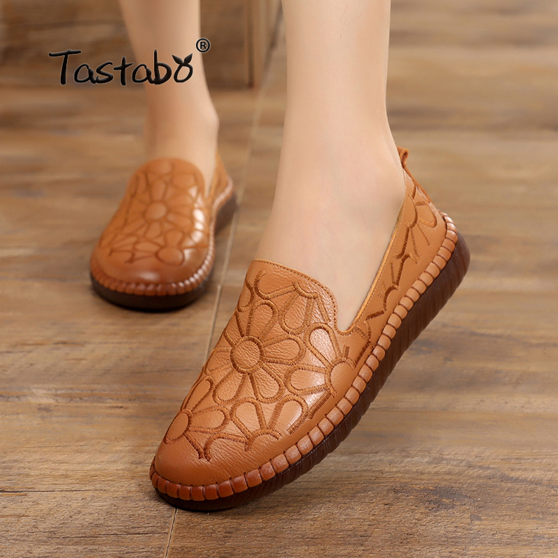 Tastabo Casual Genuine Leather Flat Shoe Flower Slip On Driving Shoe Female Moccasins Embroider Flats Lady Pregnant Women Shoes цена