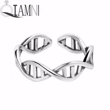 QIAMNI 925 Sterling Silver Science Chemistry Molecule DNA Infinity Open Finger Adjustable Ring Christmas Jewelry Birthday Gift