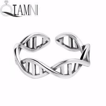 QIAMNI ciencia molécula química DNA infinito dedo abierto anillo ajustable joyería de navidad regalo de cumpleaños