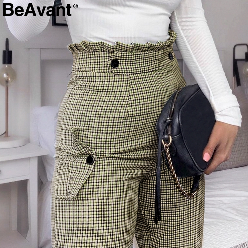 BeAvant Plaid high waist work   pants   women Ruffle zipper harem   pants     capris   female Vintage button ladies autumn trousers 2019