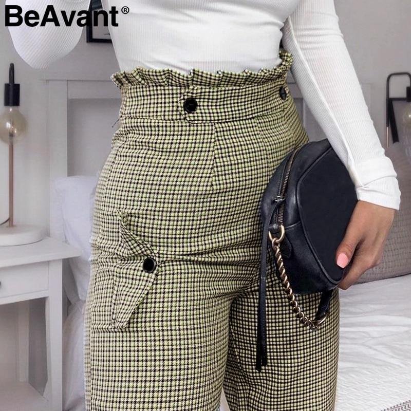 BeAvant Plaid High Waist Work Pants Women Ruffle Zipper Harem Pants Capris Female Vintage Button Ladies Autumn Trousers 2019