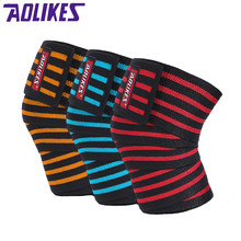 AOLIKES 2 Stks 180*8 CM Fitness elastische sport bands Been Knie Compressie Strap Wrap Elastische Bandage Poverlifting Squats Training(China)