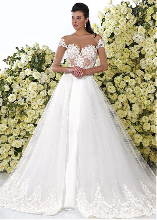 Mermaid Wedding Dresses Gowns Charming Tulle See Through 2 In 1 With Lace Appliques WED90299 From Weddings