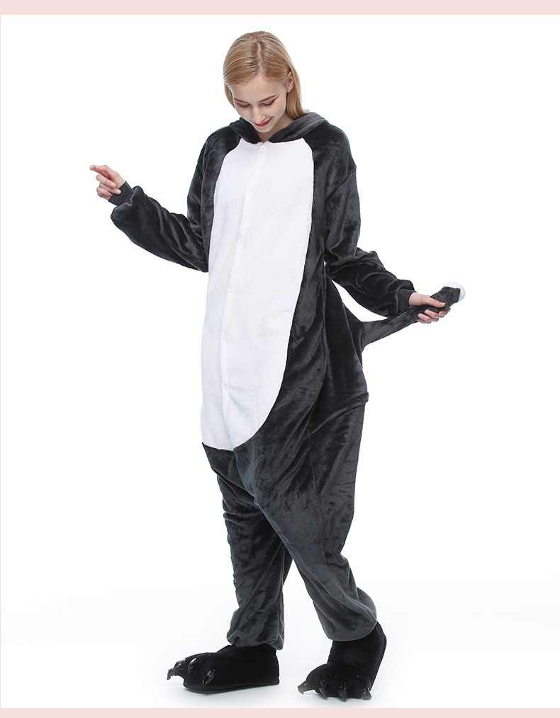 Фланелевые зимние пижамные комплекты, женские зимние Мультяшные кигуруми, ночная рубашка для взрослых, пижамы, единорог, волк, Ститч, комбинезоны, унисекс, пижама с животными