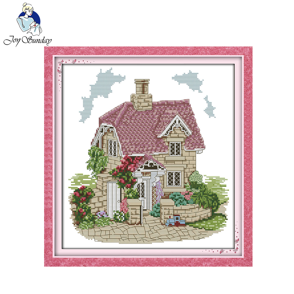 Joy Sunday Exquisite Villa Pattern Scenery Decor Painting Counted Print On Canvas 14CT 11CT Chinese Cross Stitch Needlework Set