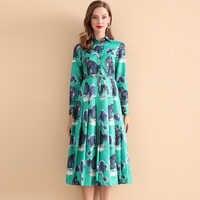 Высококачественное новое модное дизайнерское платье 2019 года женское винтажное платье до середины икры с длинными рукавами и принтом кота