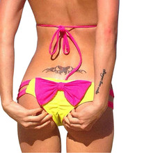 Bikini Women Brazilian Cheeky Bottom Bowknot Thong 2015 New Hot Bikini Briefs Women Wear Swimwear Swimsuit Size UK 6-16