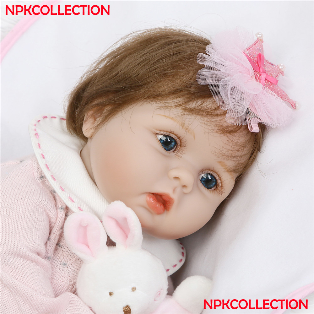 NPK bebes reborn 55cm Soft Silicone Reborn Boneca Alive Baby Reborn Doll With Super Nature Hair