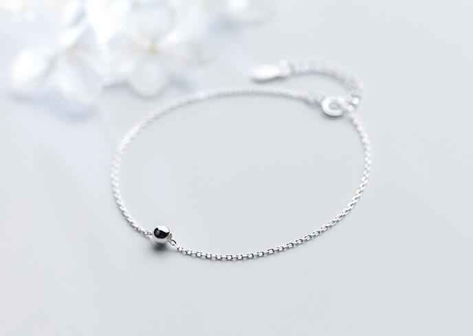 (Very Thin simple) 100% Real. 925 Sterling Silver Fine Jewelry 4mm Polished Round Bead chain Bracelet GTLS498