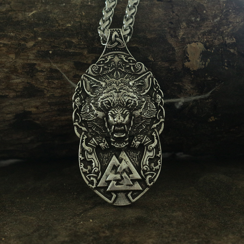 lanseis 10pcs dropshipping viking wolf pendant Wolf Totem men necklace the wolf protect me