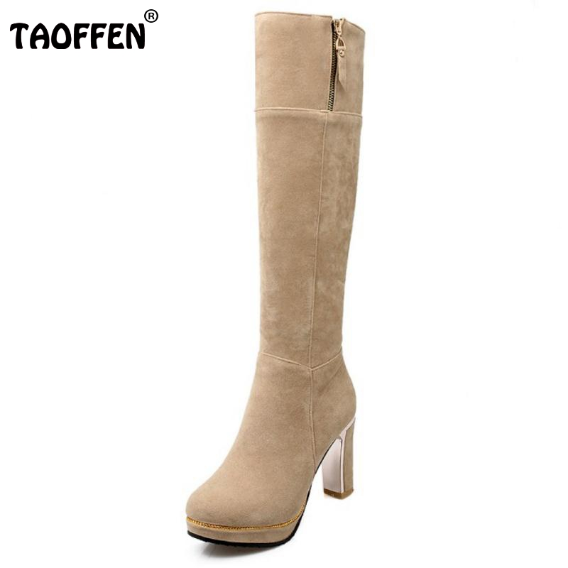 Woman Round Toe Thick Heel Knee Boots Women Suede Leather Platform Zipper Botas Ladies Fashion Heels Shoes Footwear Size 31-43 bonjomarisa 2017 fashion summer sandles big size 32 43 cutout open toe thick heel less platform women shoes ladies footwear