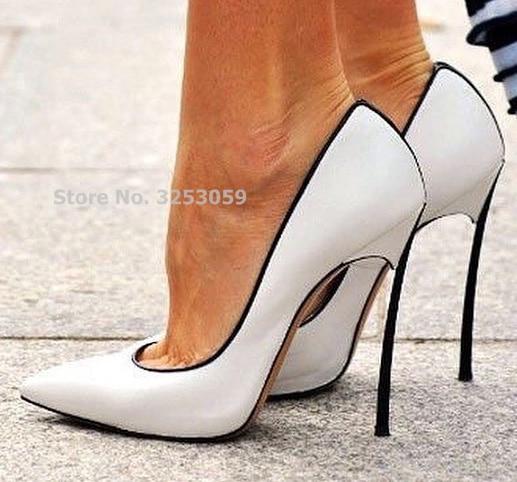 ALMUDENA Hot Selling Patchwork Dress Shoes 12cm High Heel Metal Heels Wedding Pumps Banquet Party Shoes Color Block Slip-on Pump