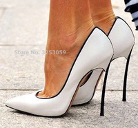 ALMUDENA Hot Selling Patchwork Dress Shoes 12cm High Heel Metal Heels Wedding Pumps Banquet Party Shoes Color Block Slip on Pump