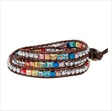 цены на New Chakra Bracelet Fashion Jewelry Natural Crystal Beaded Handmade Leather Bracelet Wrap Bracelet HandWork Drop Shipping  в интернет-магазинах
