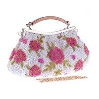 Vintage Handmade Floral Women's Handbag Beading Clutch Fit Cheongsam Shell Bag Casual Flap With Handle Single Chain Shoulder Bag