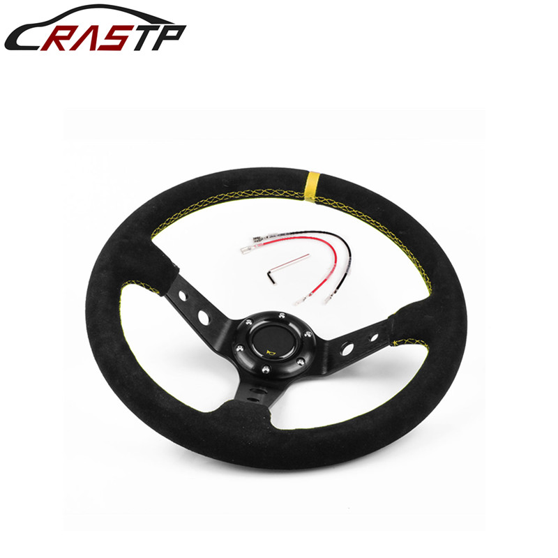 RASTP-Universal 14 inches 350mm Car Sport Steering Wheel Racing Type Suede Leather with Logo RS-STW011