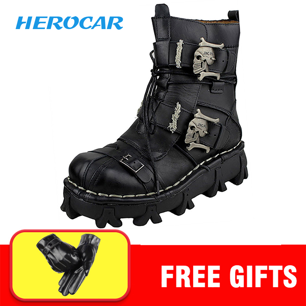 Cool Motorcycle Boots Men Biker Retro Genuine Cow Leather Skull Punk Martin Shoes Motorbike Moto Boots