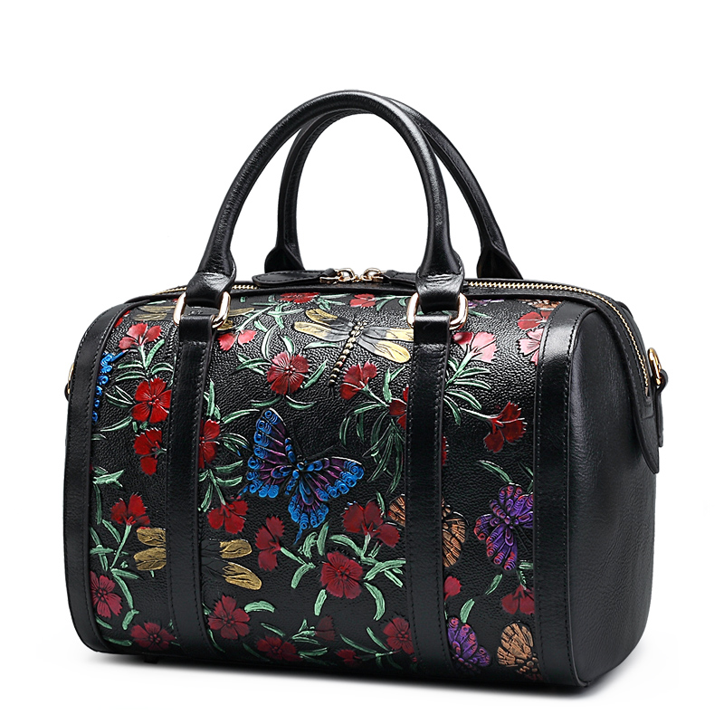 QISU National style women hand painted tote bag lady single shoulder strap butterfly floral messenger bag