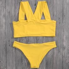XYXNFLY 2017 Sexy Women Bikini Set Yellow Bandage Swimsuit Swimwear Brazilian Thong Bathing Suit Beachwear Summer Biquini