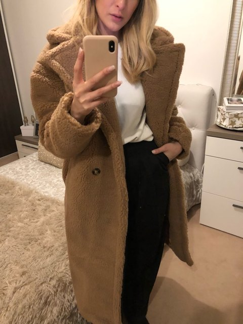 fake fur thick warm curly teddy coat new collection fashion trend winter female clothes oversize with underneath windbreak brown 3