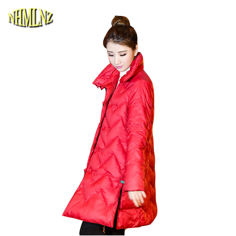 2018 Winter Chinese style Women Down jacket Medium long Large size High-quality Large-size Retro Casual Women Down jacket LH121