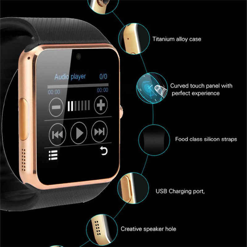 GT08 Smart Watch Plus Metal Strap Bluetooth Wrist Smartwatch Support Sim TF Card Android IOS Watch Pedometer Multi-languages