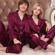 Autumn Summer Silk Lovers Set Fashion Lounge Long-sleeve Sleepwear Pajamas For Women and Men Plus size Female Satin Nightgown