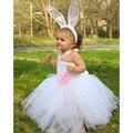 Whit color princess tutu vestido de niña tutu vestido de conejito de pascua Cos Vestidos Longitud de La Rodilla Tutus Esponjoso Con Orejas de conejo y Cola