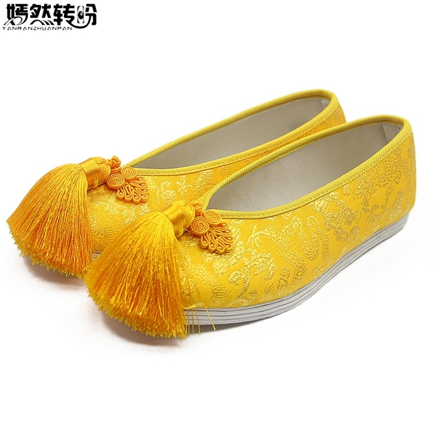 Women Flats Bride Shoes Chinese National Wedding Yellow Satin Dragon Phoenix  Embroidered Tassel Breathable Single Ballet Woman d51f0e70e2c3