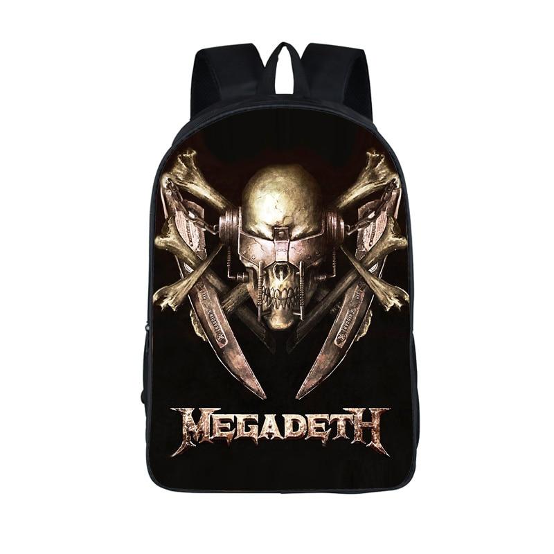 Rock Band Megadeth / acdc / Iron Maiden / Slayer backpack Thrash Metal Teenager School Bags Heavy Metal Backpacks Laptop Bag