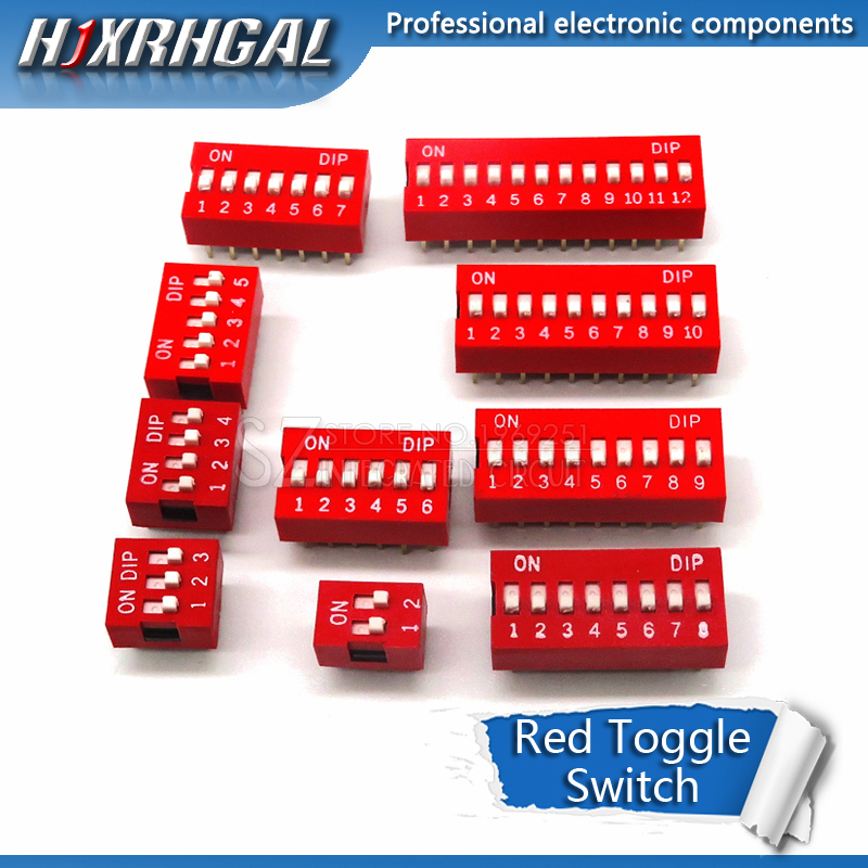 100PCS Slide Type Switch 1 2 3 4 <font><b>5</b></font> 6 7 8 9 10 <font><b>12</b></font> Bit 2.54mm Position Way DIP Red Pitch Toggle Switch Red Snap Switch hjxrhal image