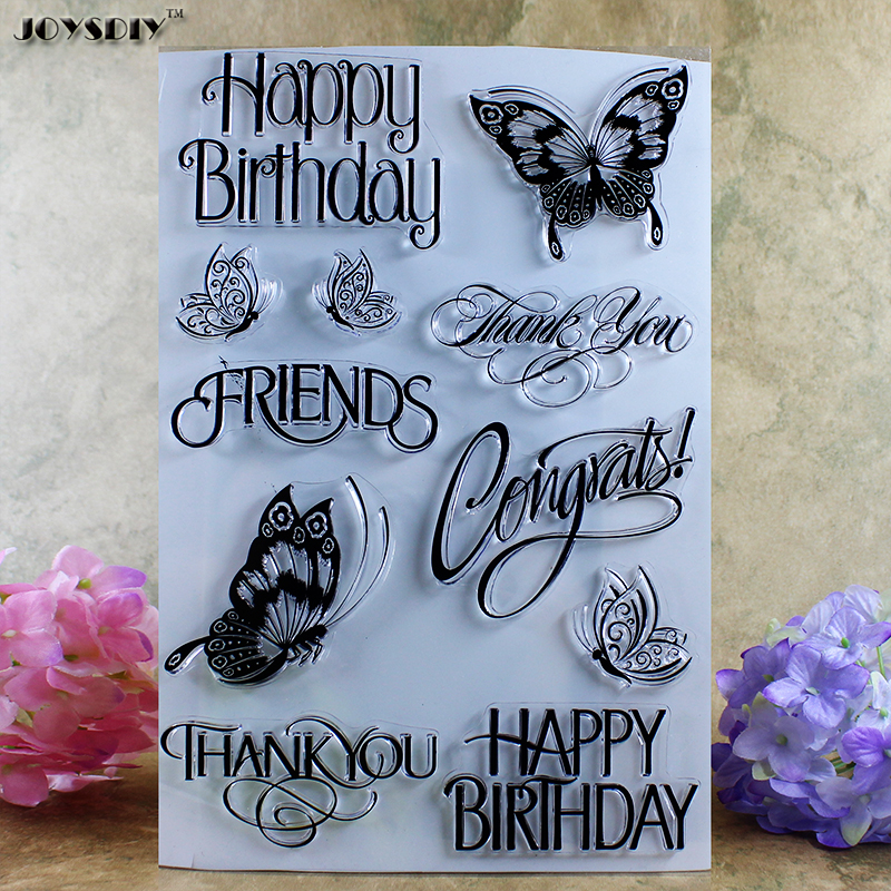 Happy Birthday Thank You Scrapbook DIY photo cards account rubber stamp clear stamp transparent stamp card DIY stamp 24*17cm 3d laser cut pop up greeting cards happy birthday postcards vintage chic retro peacock thank you gift message cards for girl