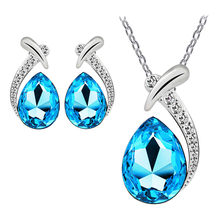 Necklace for Women Lady Crystal Pendant Silver Plated Chain Necklace Stud Earring Set Gift Ethnic Bohemian Choker Necklace(China)