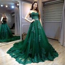919ec2adb Robe De Soiree 2018 Sexy Backless vestidos De noche largo la novia banquete  elegante verde del amor del cordón vestido Formal de.