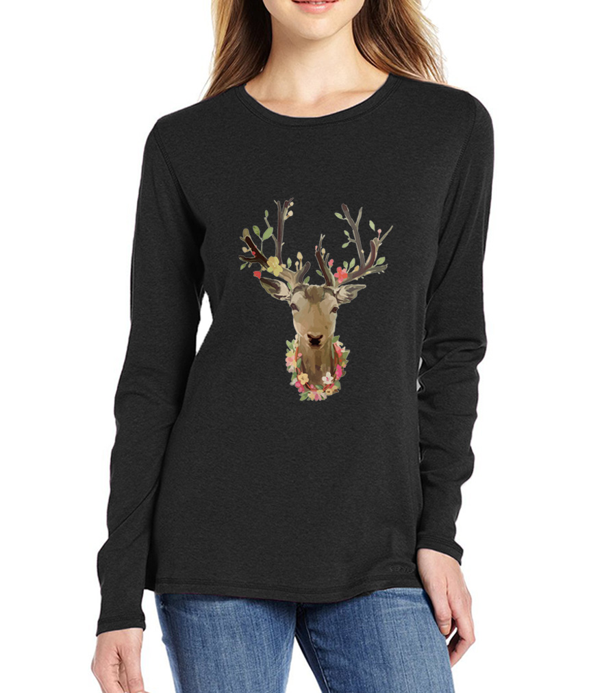 2017 summer autumn long sleeve t shirts brand harajuku funny cute animal deer tops sexy for lady t-shirt femme clothing