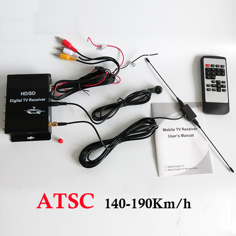 Free Shipping 140-190km/h ATSC USA Digital TV receiver for Car TV Tuner Box for Mexico Canada freesat v7 combo atsc powervu youtube dvb s2 atsc satelite receiver for united states mexico canada south korea atsc tv tuner